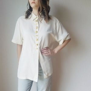 VTG Times 7 Todd Oldham Ivory Charm Button Down S